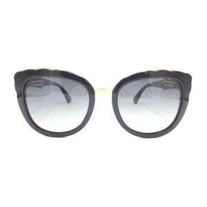 Chanel Black Gold Cat Eye Polarized Sunglasses